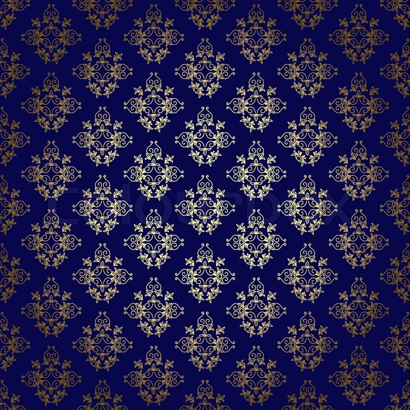 dark blue vector seamless background with gold gradient stock