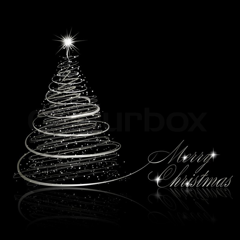 silver christmas tree on black background stock photo colourbox - Black And Silver Christmas Decorations