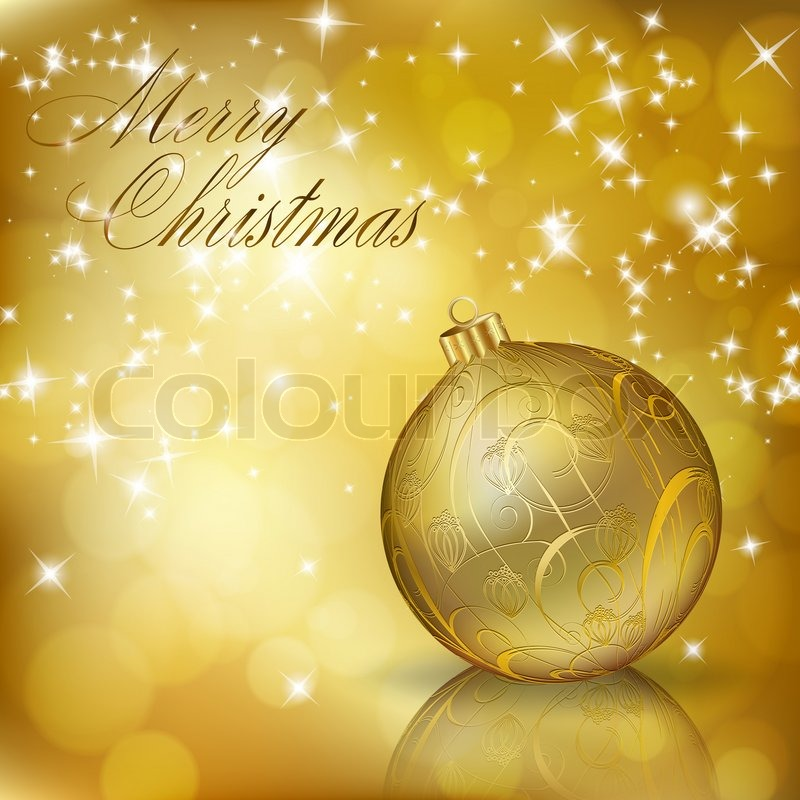 Golden Merry Christmas greeting card | Stock Photo | Colourbox