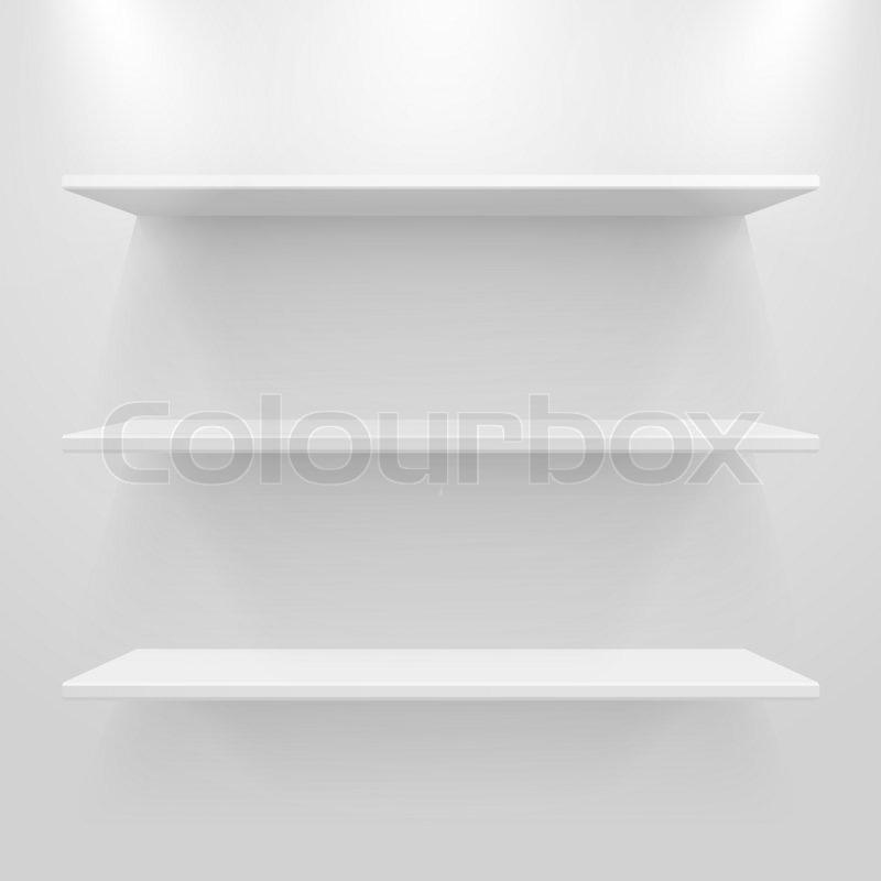 leere wei e regale auf leichten grauen hintergrund stockfoto colourbox. Black Bedroom Furniture Sets. Home Design Ideas
