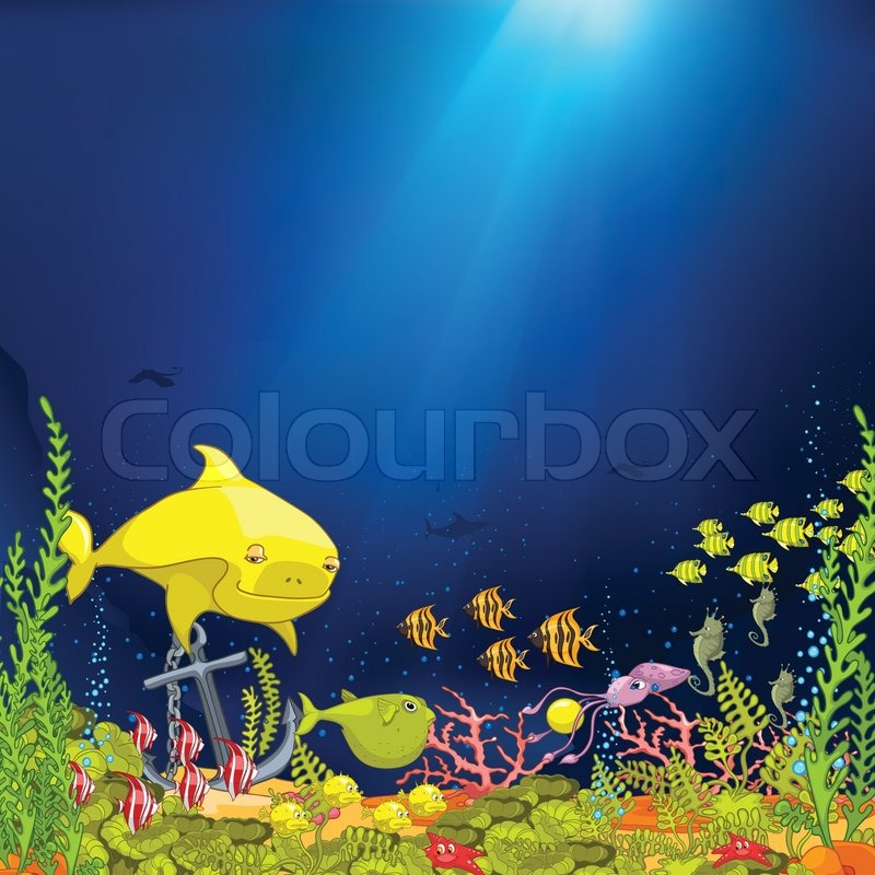 coral reef with alga and fish vector stock vector colourbox