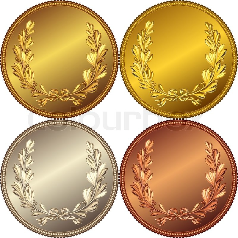 set of the gold silver and bronze coins with the image of a laurel