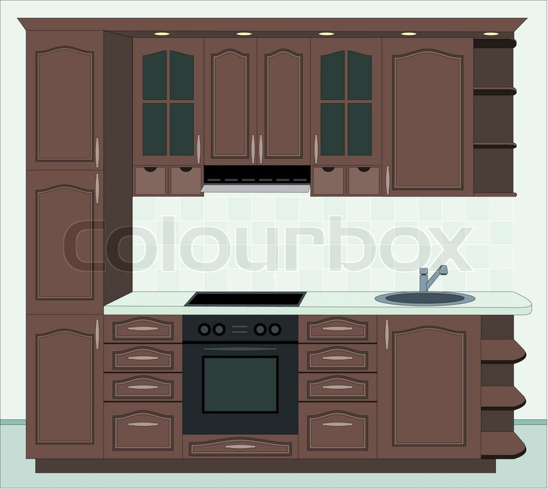 Kitchen furniture interior of kitchen stock photo for Kichan farnichar design