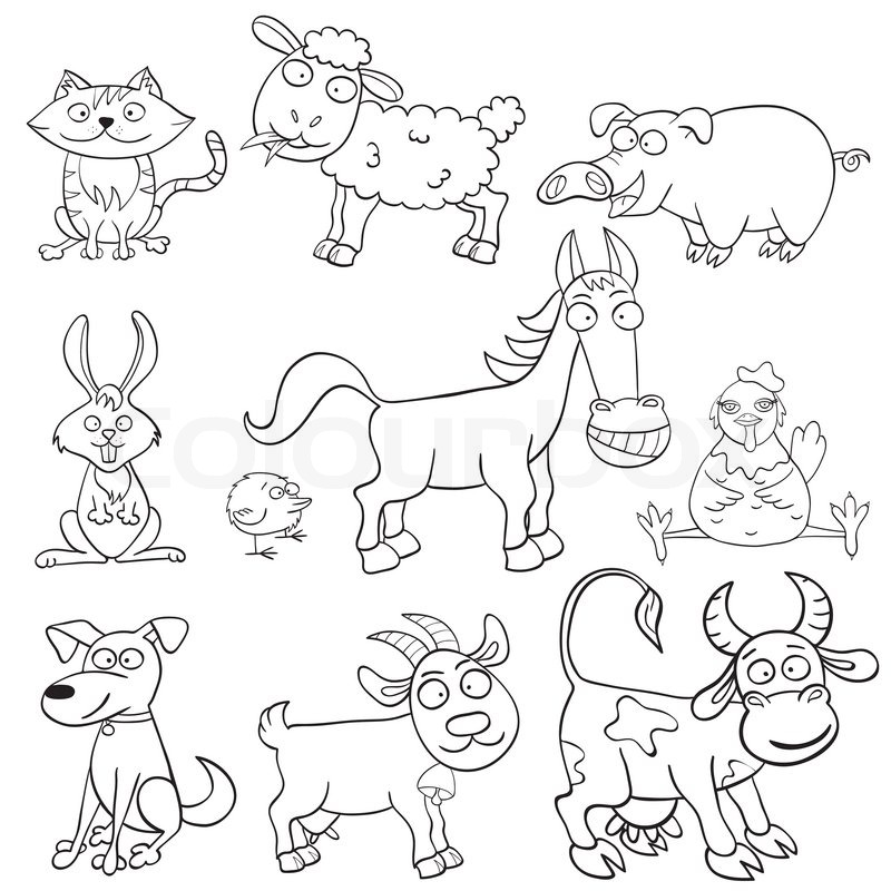 Coloring book with farm animals | Stock Vector | Colourbox