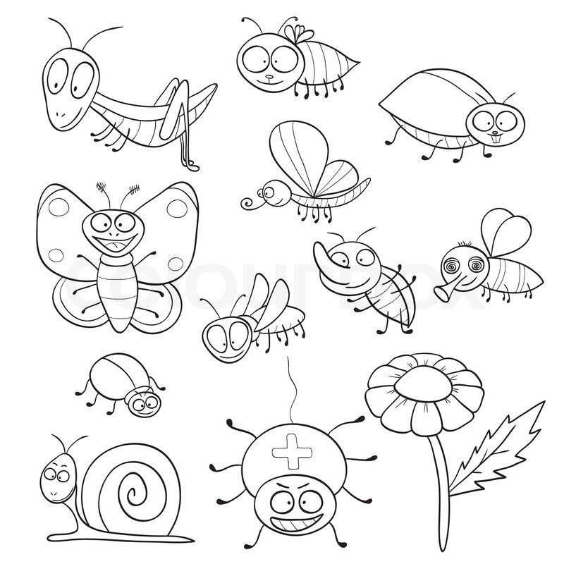 Coloring book with insects | Vector | Colourbox: colourbox.com/vector/coloring-book-with-insects-vector-4180905