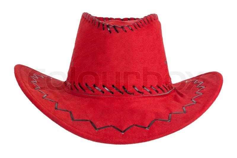 The red cowboy hat with leather trim  f9a50f57c20