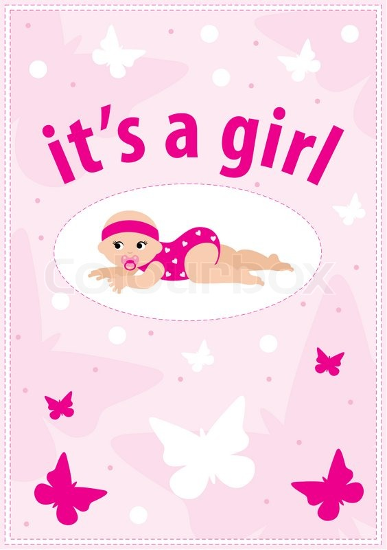Baby girl arrival announcement card Photo – Announcement of Baby Girl