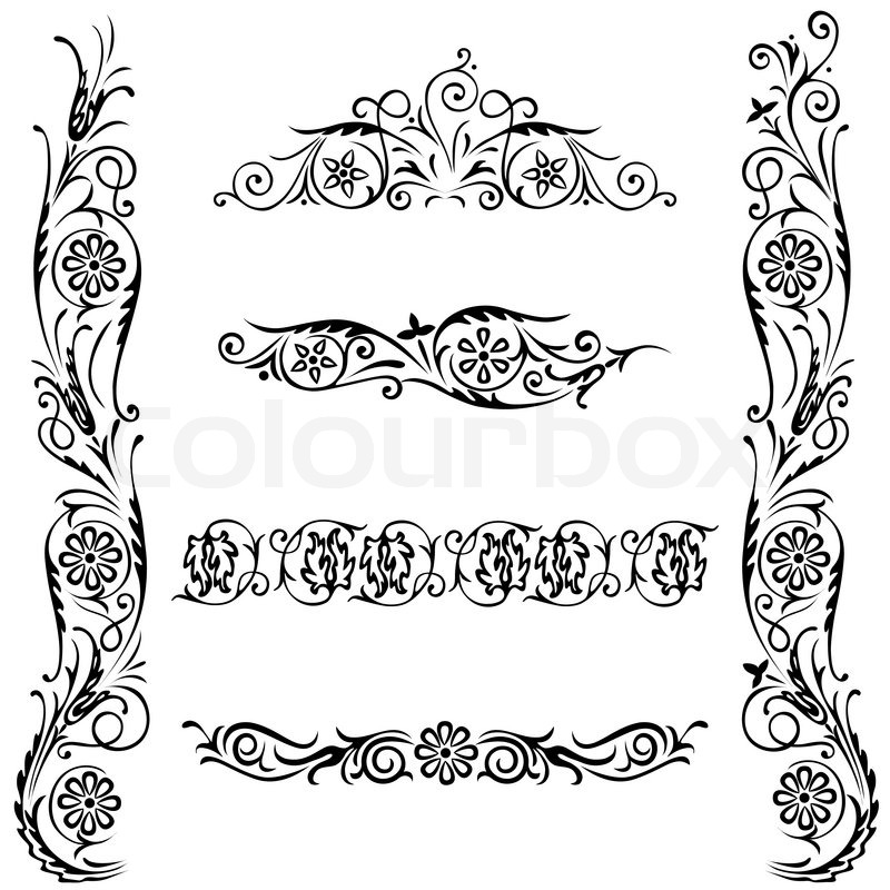 Vector set calligraphic design flower ornament swirling