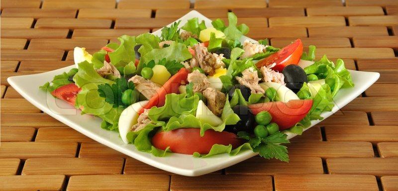 Vegetable salad with tuna and egg | Stock Photo | Colourbox
