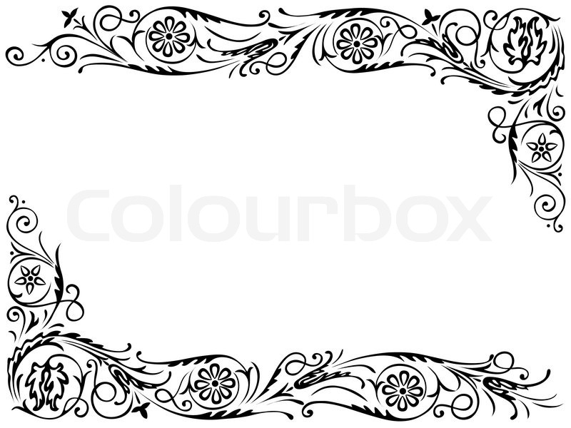 Design frame with with black swirling decorative floral elements ...