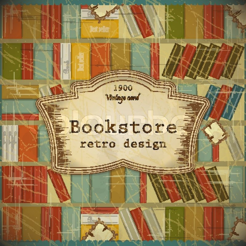 Vintage Book Background In Scrapbooking Style Bookcase Vector Background Grunge Style