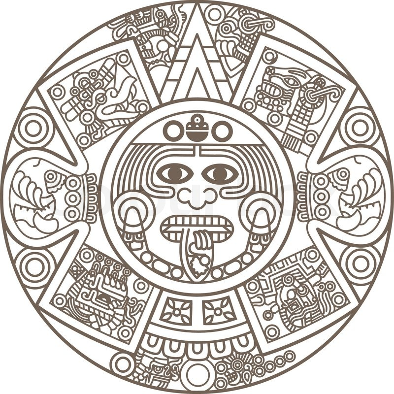 stylized aztec calendar stock vector colourbox