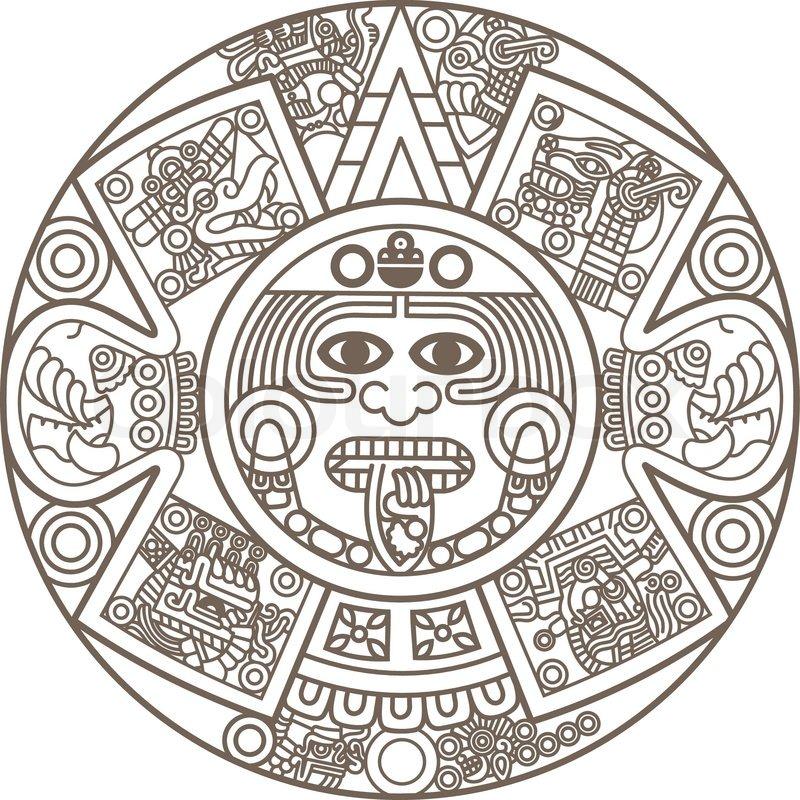 Calendar Design God : Stylized aztec calendar stock vector colourbox