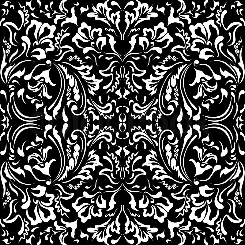 White Floral Pattern On A Black Stock Vector Colourbox