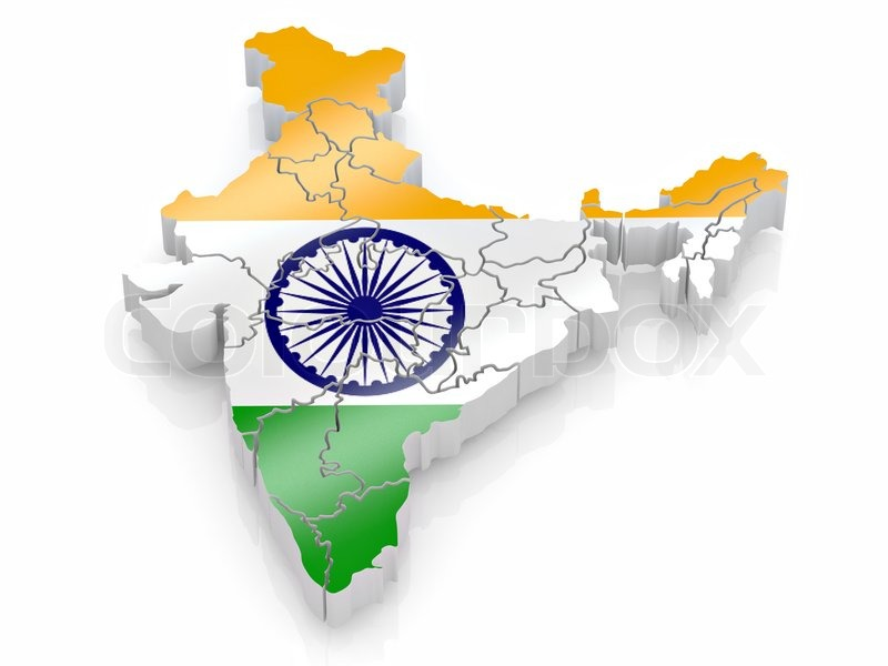 India Map Flag.Map Of India In Indian Flag Colors Stock Photo Colourbox