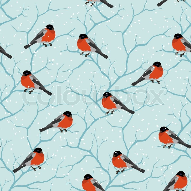 winter seamless pattern birds on a tree in christmas stock vector
