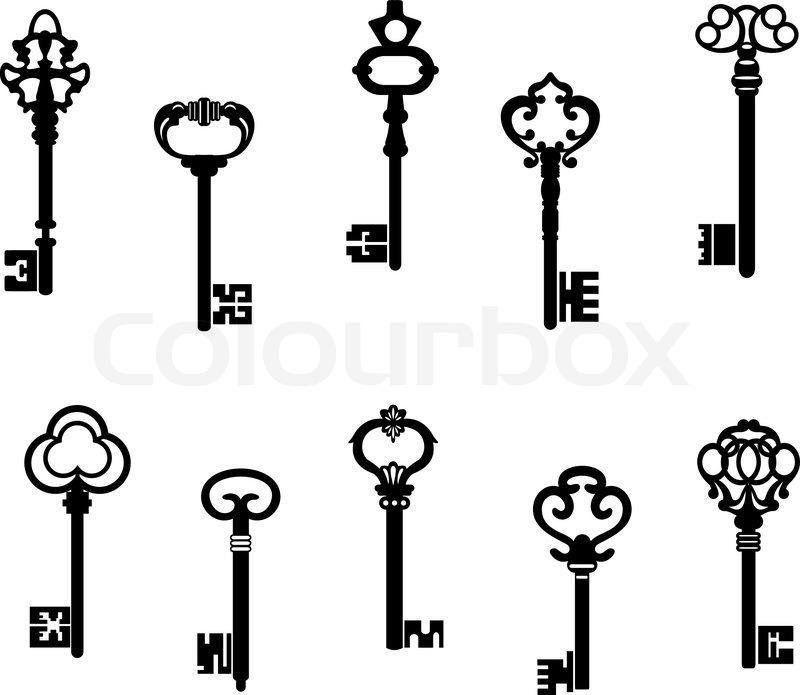 Line Drawing Key : Alte antike schlüssel stock vektor colourbox
