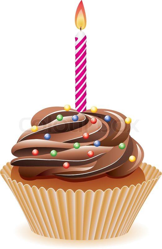 Happy Birthday Cupcake Cartoon
