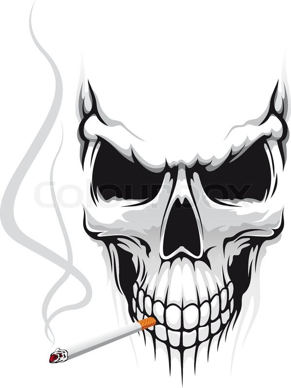 Totenkopf Mit Zigarette Vektorgrafik Colourbox