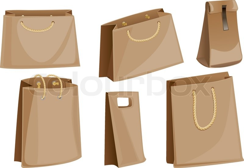 Set Of Paper Packaging Packages Bags With Rope Handles