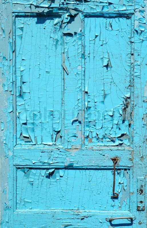 Cracked Old Painted Blue Door Stock Photo Colourbox