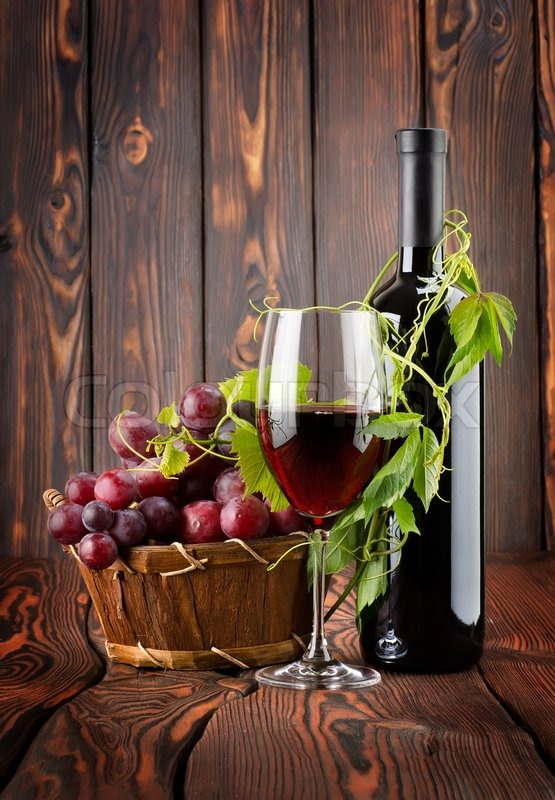 Bottle Of Wine And Grapes Stock Photo Colourbox