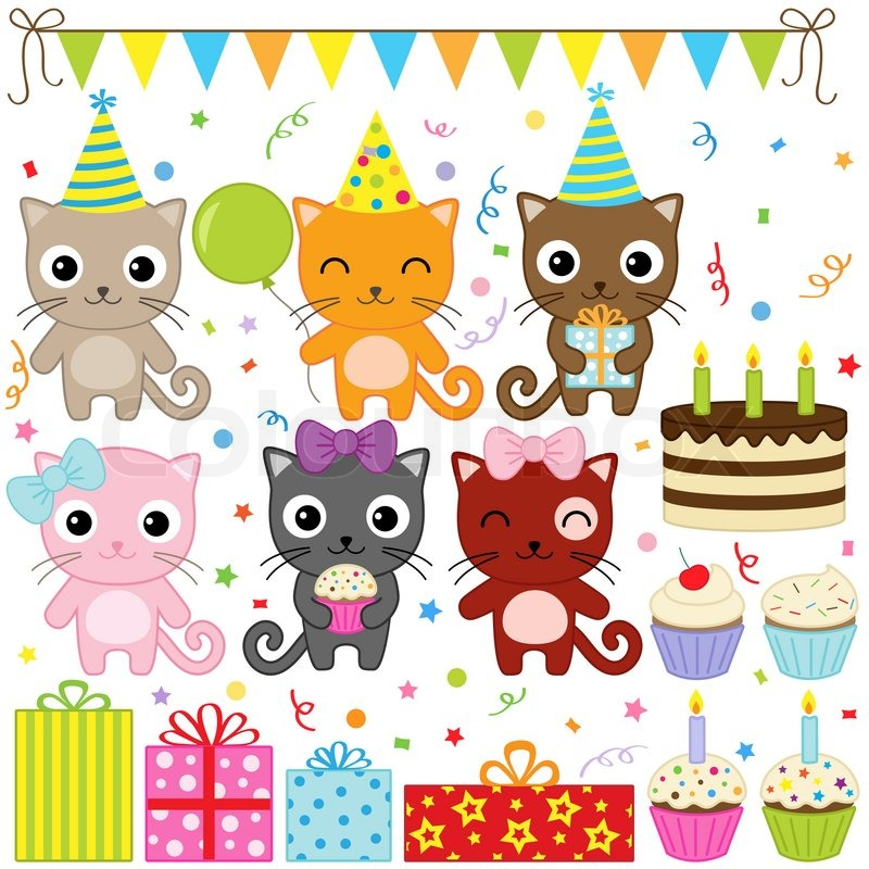 Birthday Party Cats Stock Vector Colourbox
