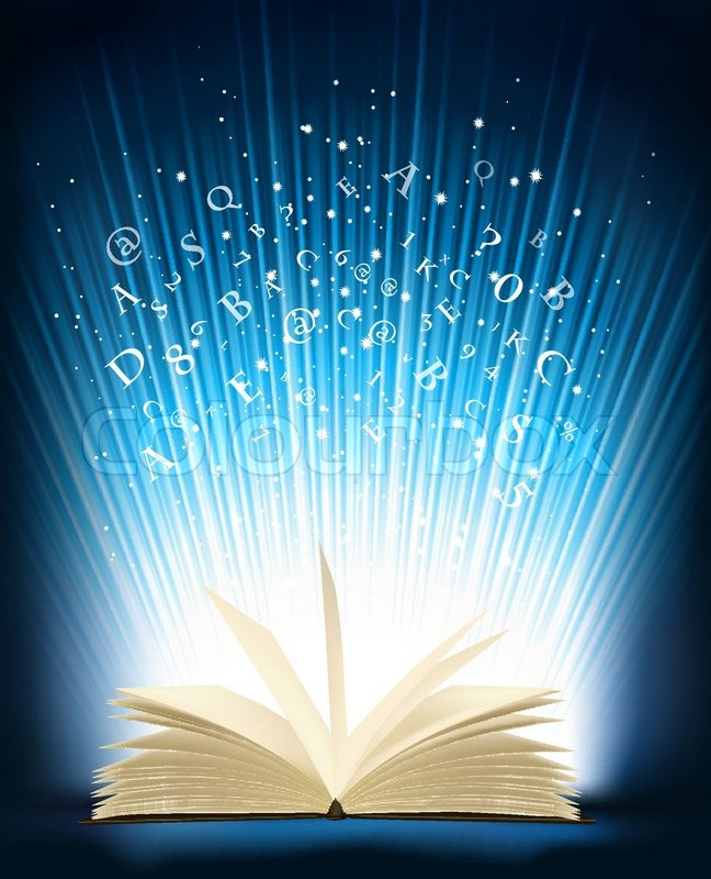 Light Book Best Opened Magic Book With Magic Light Vector Illustration Stock