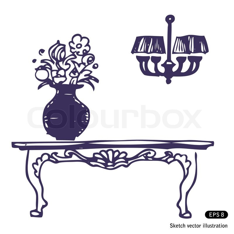 Vintage Table Vase With Flowers And Chandelier