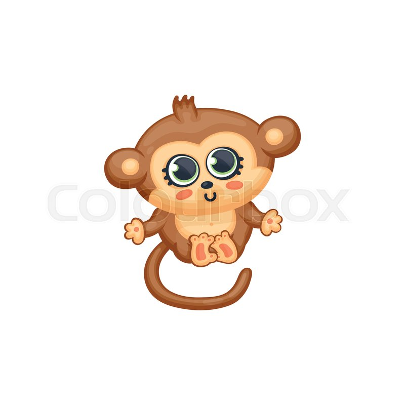 Cute Cartoon Baby Monkey With Big Eyes Stock Vector Colourbox