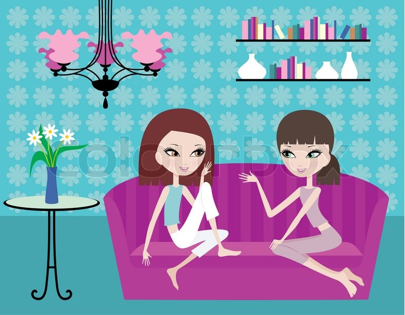 Two Girls Talk On A Sofa