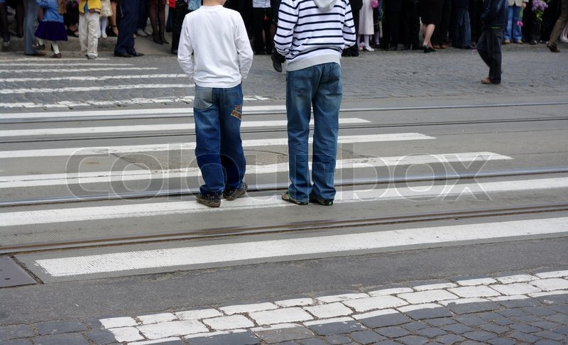 People crossing the street, stock photo