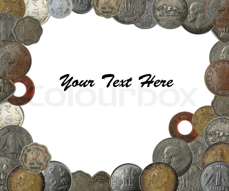 Indische Münzen Als Einen Frame Rahmen Mit Textfreiraum Stockfoto