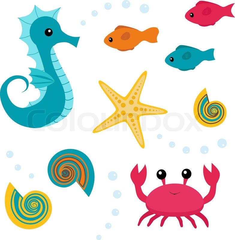 Cartoon sea life set 3 | Stock vector | Colourbox