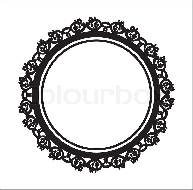 Baroque style labelold portrait frame isolatedblack circle stock vector colourbox for Black circle vector