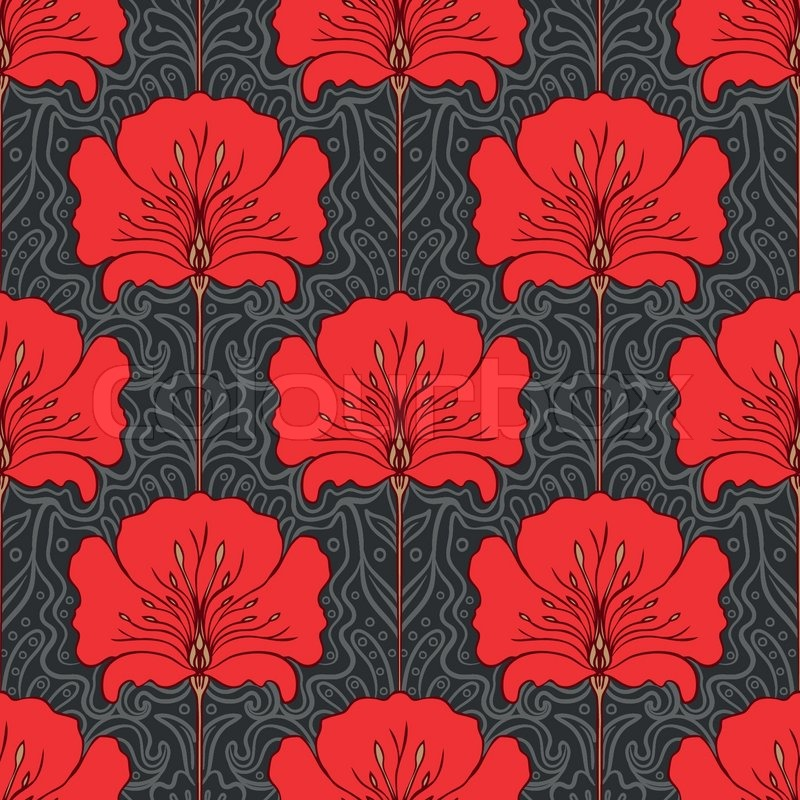 Colorful seamless pattern with red flowers on gray ...