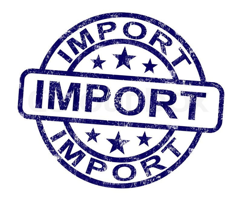 Stock image of 'Import Stamp Showing Importing Goods'