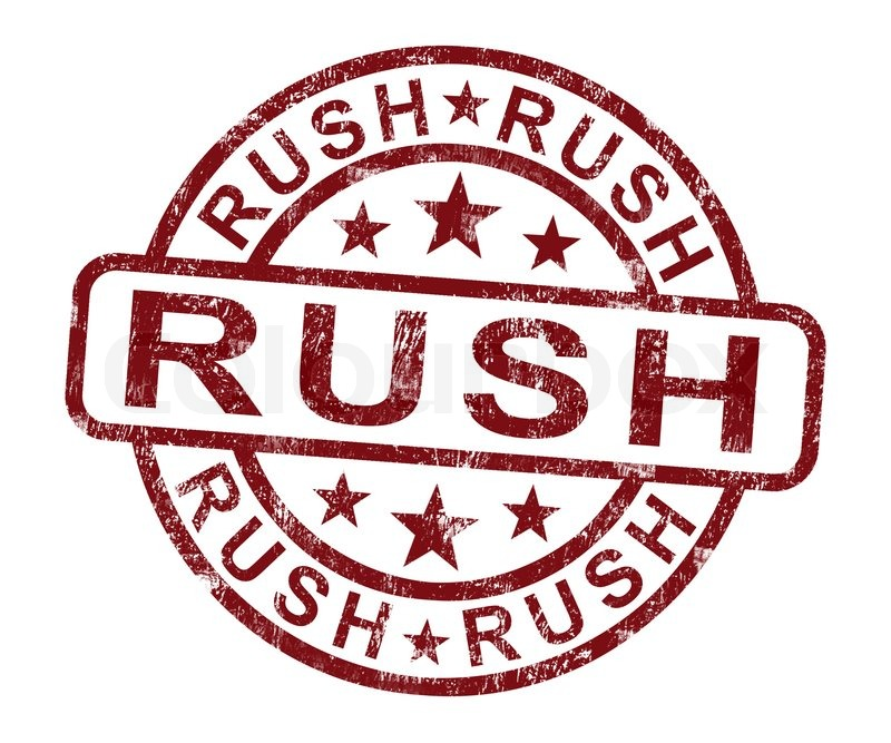 Stock image of  Rush Stamp Shows Speedy Urgent Express Delivery Rush Delivery Stamp