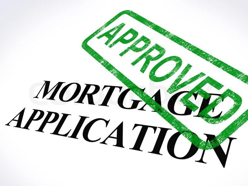 Hypothek Antrag genehmigt Briefmarke zeigt Wohnungsbaudarlehen ...