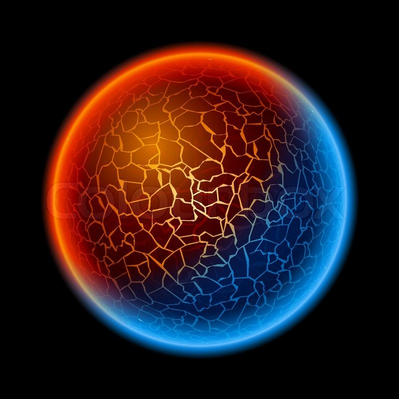 Fire And Ice Ball Planet Stock Vector Colourbox