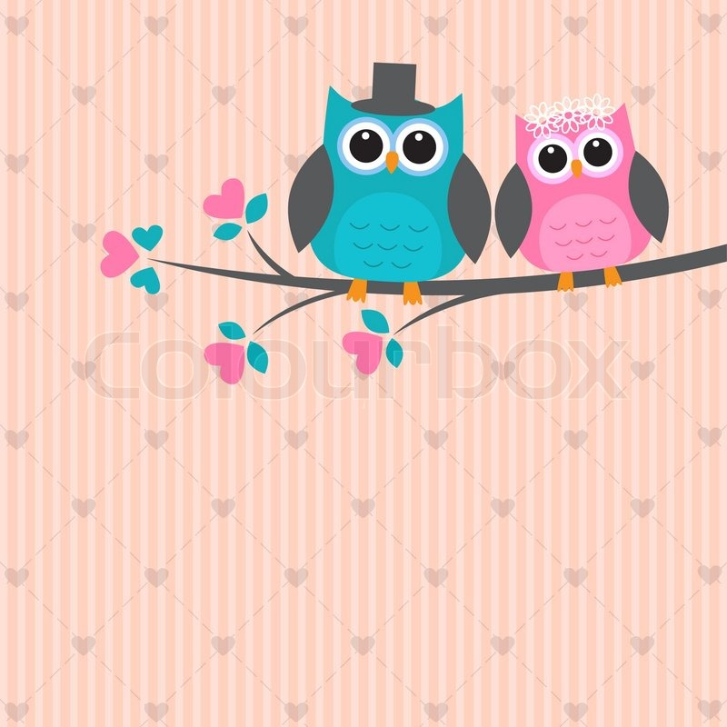 Two Cute Owls In Love Stock Vector Colourbox