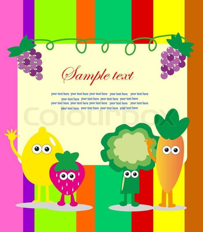 Fun Frame Design With Fruits And Vegetables Vector