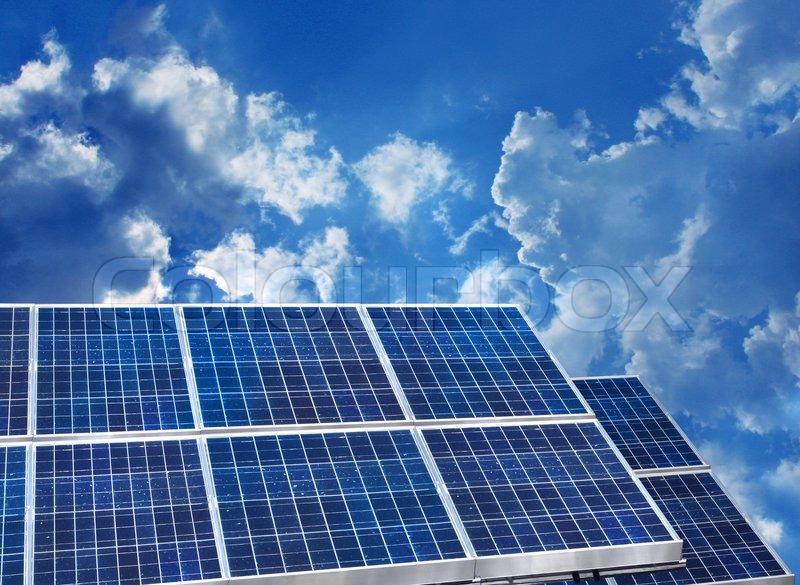 Solar Panels Blue Sky Stock Photo Colourbox