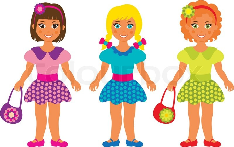 Drei Mädchen Clipart