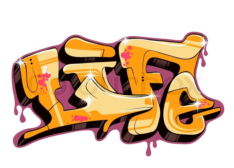 Abstract wall art painting - Graffiti Design Illustration Word Life Stock Vector