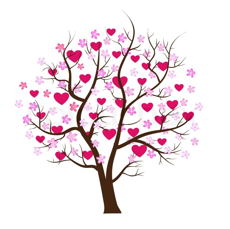 passion tree with hearts romantic template card stock vector