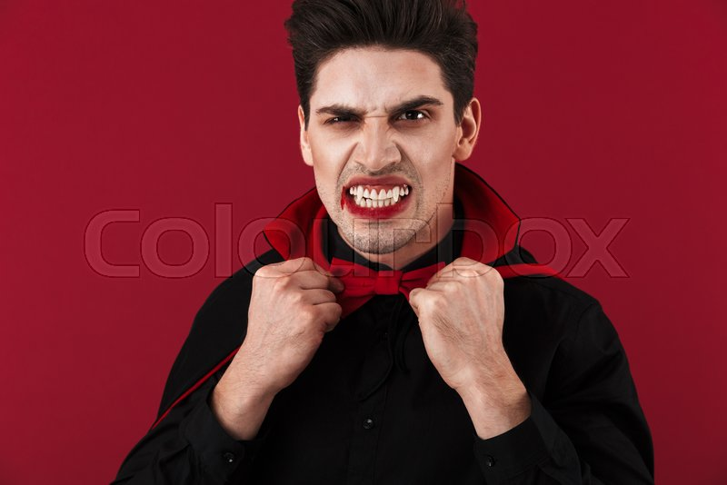 Image of evil vampire man with blood ... | Stock image ...