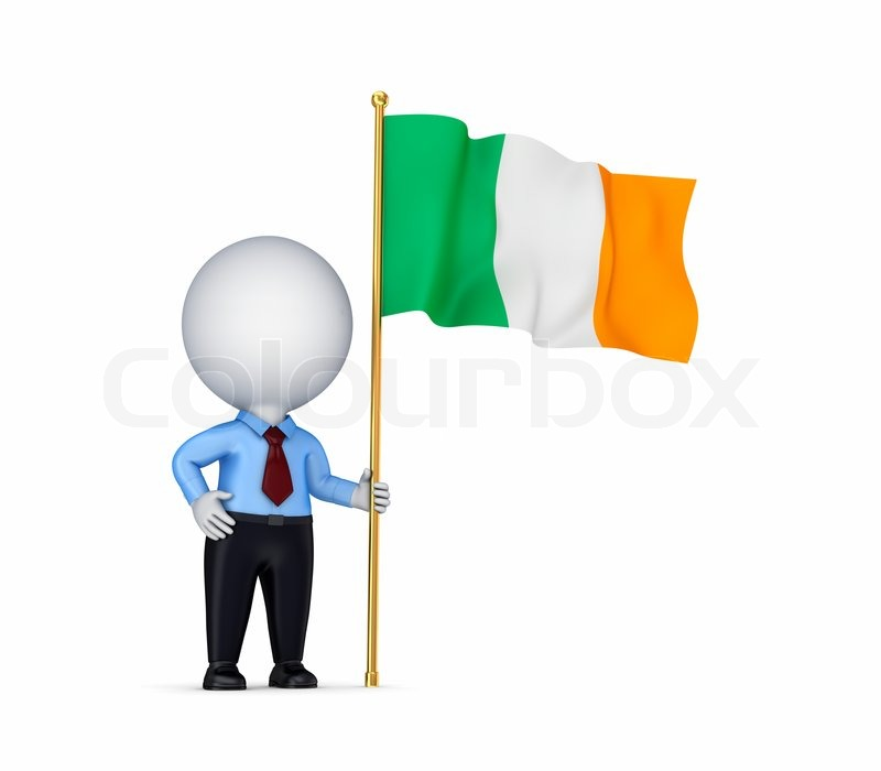 3d small person with an irish flag in a hand stock photo for Irish mail cart plans