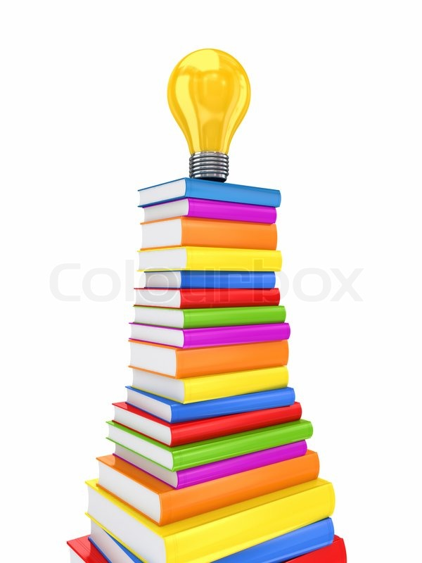 Yellow lamp on a big stack of colorful books | Stock Photo | Colourbox