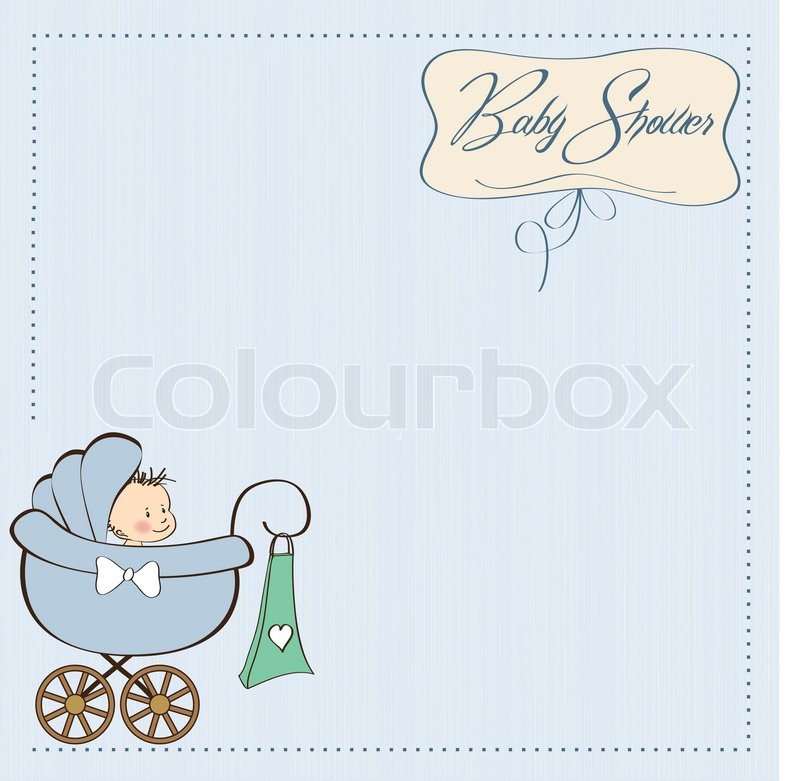Baby Boy Announcement Card With Baby And Pram Stock Vector Colourbox - Boy announcement
